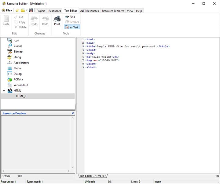 HTML resource sample